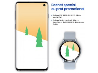 Pachet Samsung Galaxy Holiday cu telefon S10, 128gb si Watch Active 2